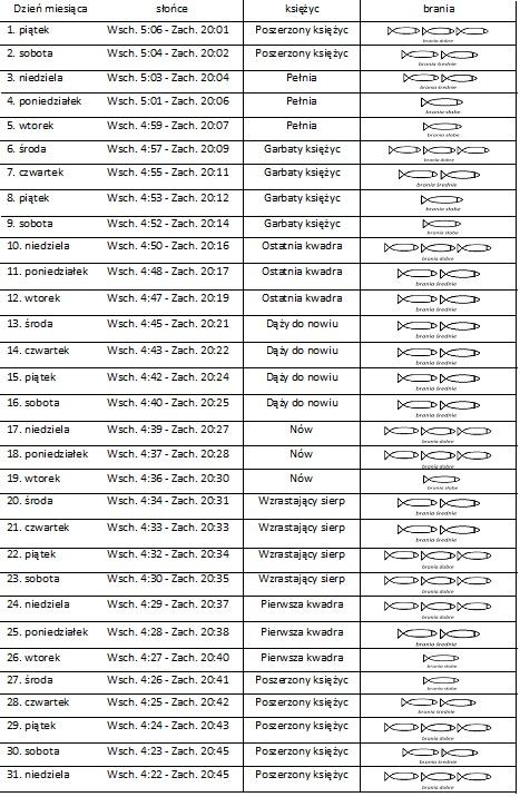 wędkarski kalendarz brań maj